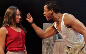 Hilda Cronje (as Mies Julie); Bongile Mantsai (as John) in Mies Julie Photo: Francis Loney