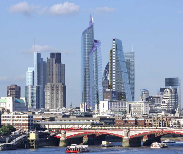 London's future skyline; The Pinnacle is in the centre  The Pinnacle, as seen from Waterloo Bridge, forms the apex of the emerging cluster of tall buildings in the City of London