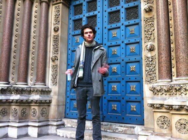 Host Matthew Green in front of St Michael's Cornhill.