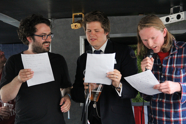Tim Clare, Luke Wright and Joe Dunthorne at the Jubilee boat Homework / by Andy Tandy
