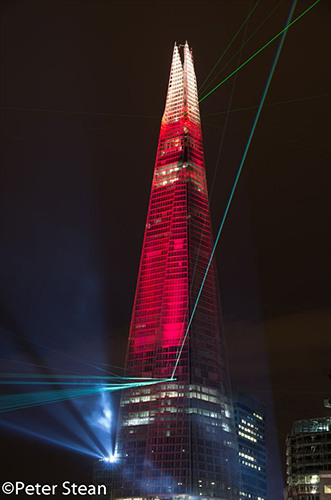 Red lights up the Shard. Photo / Peter Stean