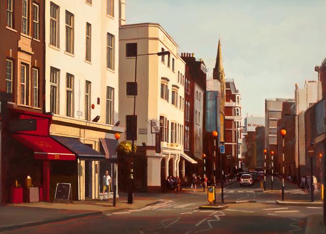 Michael J Ashcroft, Sun Setting Marylebone High Street. Courtesy Thompson's Gallery