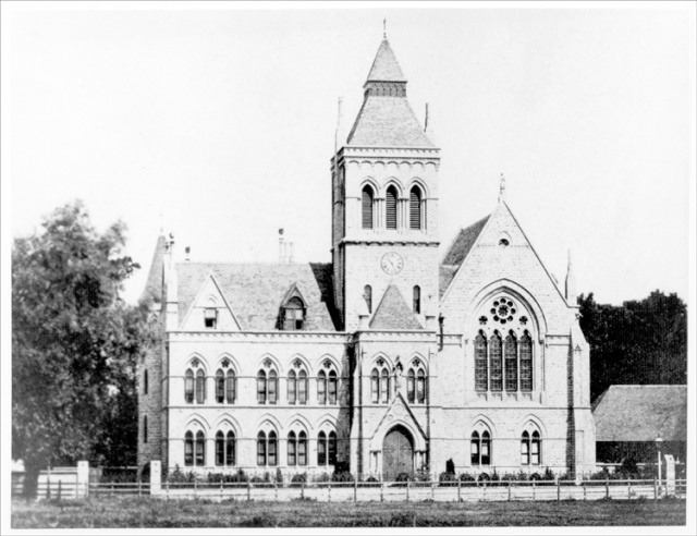 The old Lewisham Town Hall, a Gothic revival building completed in 1875. It ceased to be Town Hall in 1932, when a new building replaced it. It was demolished in 1968 despite a campaign, supported by John Betjeman, to save it.