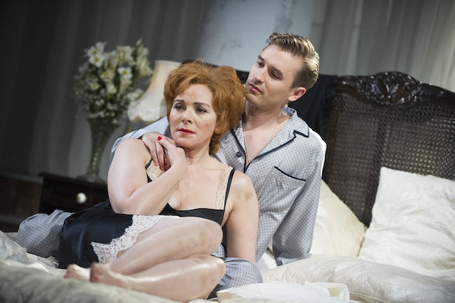 Kim Cattrall (The Princess Kosmonopolis) and Seth Numrich (Chance Wayne) in Sweet Bird Of Youth by Tennessee Williams @ Old Vic. (Opening 12-06-13) ©Tristram Kenton 06/13 (3 Raveley Street, LONDON NW5 2HX TEL 0207 267 5550  Mob 07973 617 355)email: tristram@tristramkenton.com