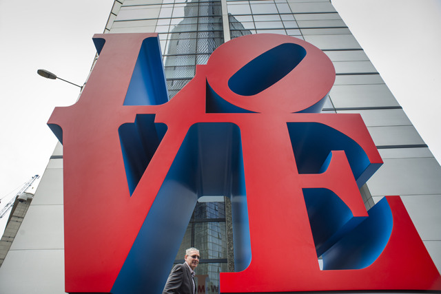 """Robert Indiana's famous """"Love"""" sculpture will stand at the corner of 99 Bishopsgate – the site of the 1993 IRA bomb 20 years ago."""