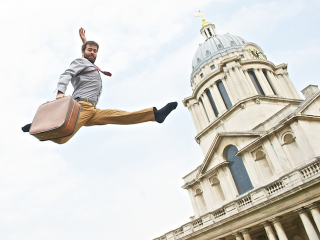 Max Calaf, who is appearing at the Greenwich & Docklands International Festival, performs on a trampoline in the Old Royal Naval College. Royal Greenwich Festivals 2013 launch