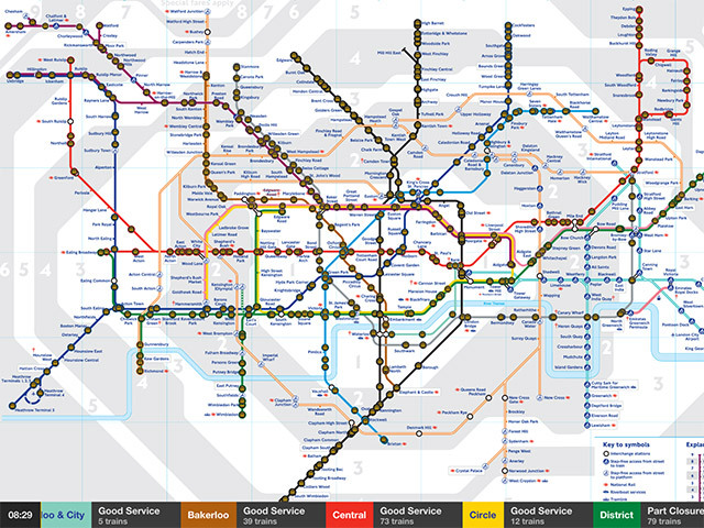 The main map, with an information bar displaying the number of trains on each line