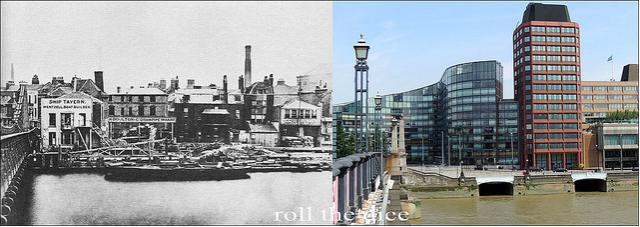 Lambeth Bridge, 1866 and 2013. Utterly changed.
