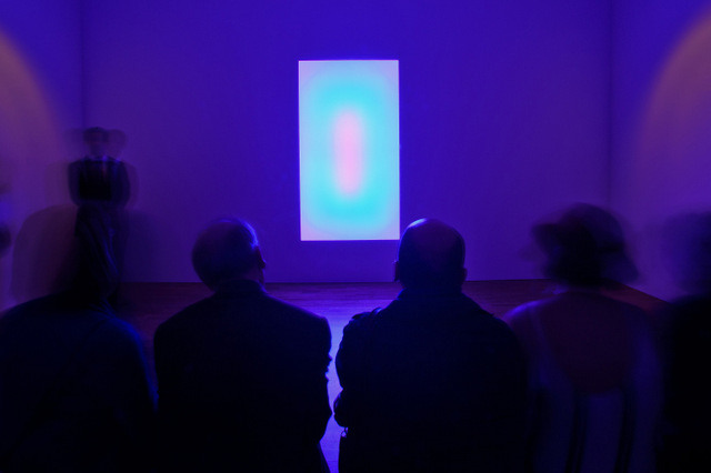 Guests view the installations as Pace London presents James Turrell Private View at Pace London on February 6, 2014 in London, England.  (Photo by Ben A. Pruchnie/Getty Images for Pace London)