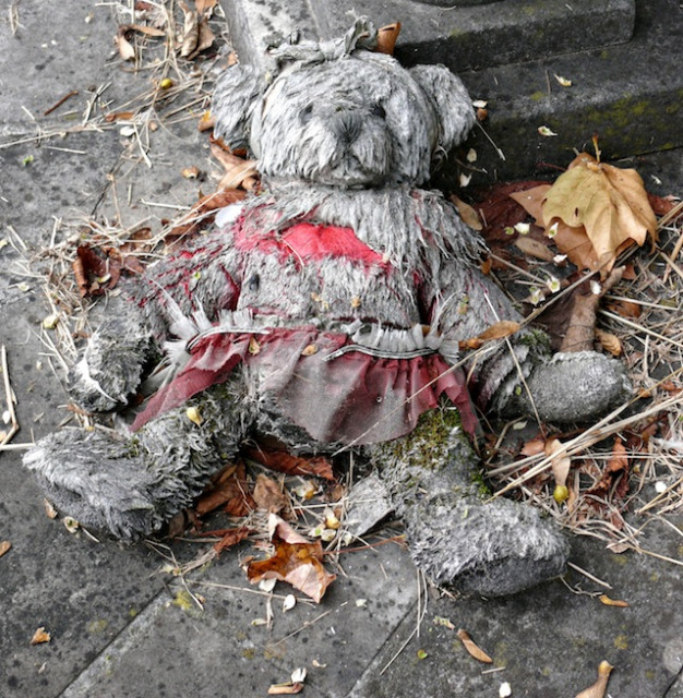 Jeane Trend-Hill was too late to save this poor bear in Wanstead, who's partly decayed and almost turned to stone with the cold.