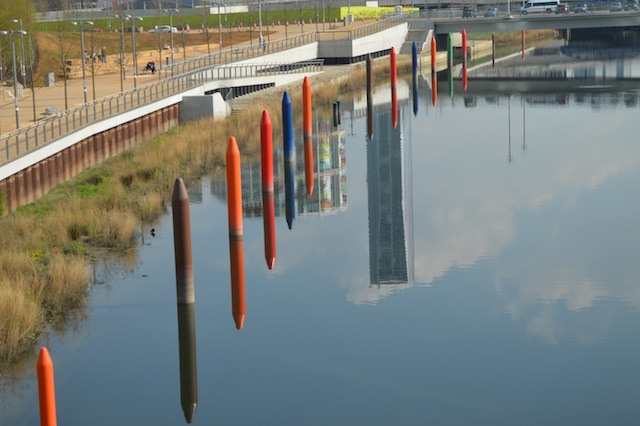 These crayon-shaped posts are known as stellas. They will be used for boat moorings.