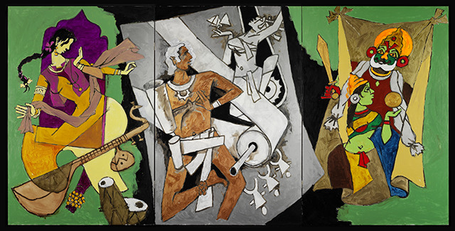 Triptych painting from The Indian Civilization Series - Indian Dance Forms;  by Maqbool Fida Husain (1915 - 2011);  Indian;  2008 - 11. Oil on canvas.