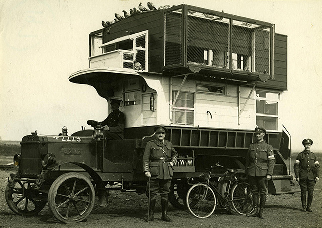 LGOC B-type bus converted into  a pigeon loft. Copyright TfL