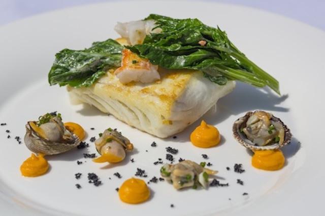 Roasted halibut, cockles, grilled langoustine, pumpkin, swiss chard - Aqua Shard