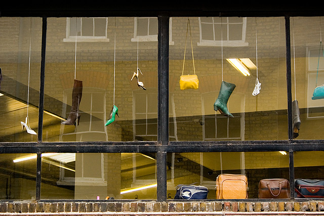 Hanging shoes, by scheherezade.