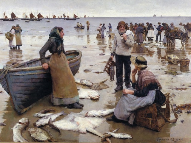 'A Fish Sale on a Cornish Beach' Stanhope A. Forbes, RA (1857 – 1947) oil on canvas, 1885 from the collections of Plymouth City Council (Museums and Archives) © Bridgeman Art Library