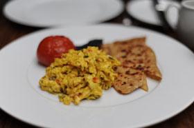 Bombay scrambled eggs with tawa paratha