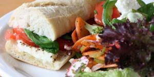 Sandwichist - Home Grown Tomato, Basil And Mozzarella Sandwich From Look Mum No Hands!
