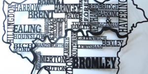 Santa's Lap: London Boroughs Silhouette Map