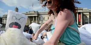 In Pictures: International Pillow Fight Day London