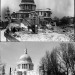 A dirty St Paul's Cathedral in 1942 (top), when the blitz was damaging its surroundings. A much cleaner St Paul's today (bottom).