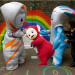 The Olympic mascots befriend a Tellytubby.