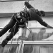 Abseiling window cleaner, New Providence Wharf by Tom Hurley