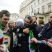 Injured Sunday Times photojournalist addresses a demonstration at the Syrian Embassy, March 2012
