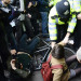 Things get a little heated during a protest along Charing Cross Road, March 2012