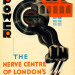 """""""Power: The Nerve Centre of London's Underground"""" (1930) by E. McKnight Kauffer. The red building is Lots Road power station, source of the Tube's energy until 2003."""