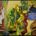 Triptych painting from The Indian Civilization Series - Traditional Indian Festivals;  by Maqbool Fida Husain (1915 - 2011);  Indian;  2008 - 11. Oil on canvas.