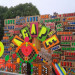 The Temple of Agape by Morag Myerscough and Luke Morgan, which was still being constructed at the weekend.