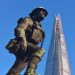 Southwark War Memorial, created by sculptor Philip Lindsey Clark, makes for a great photo of The Shard and a soldier.