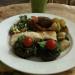 Stuffed portobello mushrooms, feuillete, three salads and kale orangeade