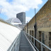 Walking along one of the roof gantries.